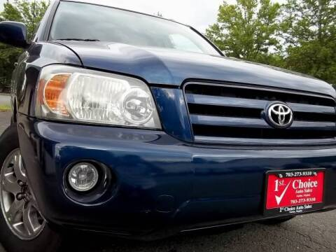 2004 Toyota Highlander for sale at 1st Choice Auto Sales in Fairfax VA