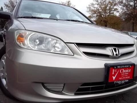 2004 Honda Civic for sale at 1st Choice Auto Sales in Fairfax VA