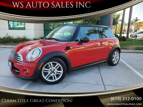 2012 MINI Cooper Hardtop for sale at WS AUTO SALES INC in El Cajon CA