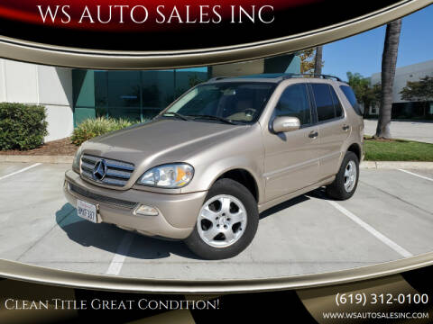 2003 Mercedes-Benz M-Class for sale at WS AUTO SALES INC in El Cajon CA