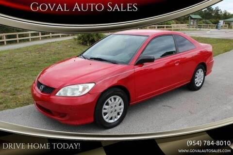 2005 Honda Civic for sale at Goval Auto Sales in Pompano Beach FL