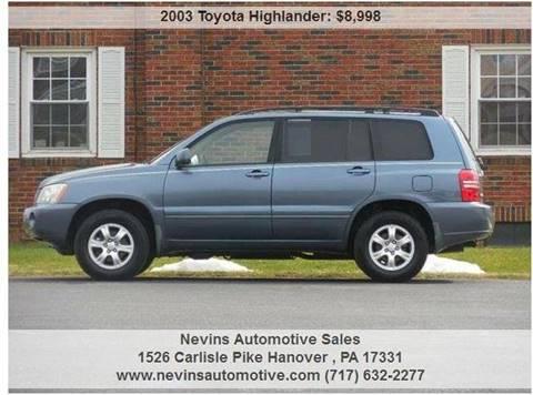 2003 Toyota Highlander for sale in Hanover, PA