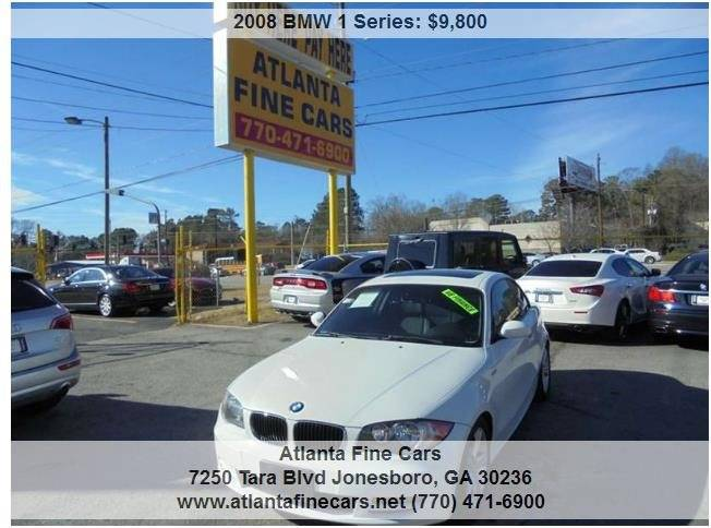 2008 bmw 1 series 128i 2dr coupe in jonesboro ga atlanta fine cars. Black Bedroom Furniture Sets. Home Design Ideas