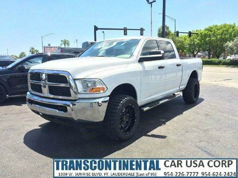 2010 Dodge Ram Pickup 2500 for sale at TRANSCONTINENTAL CAR USA CORP in Ft Lauderdale FL