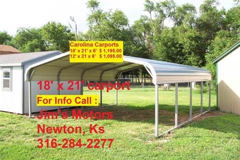 2020 Carolina Carport 18' x 21' for sale at Jim's Motors - Standard Inventory in Newton KS