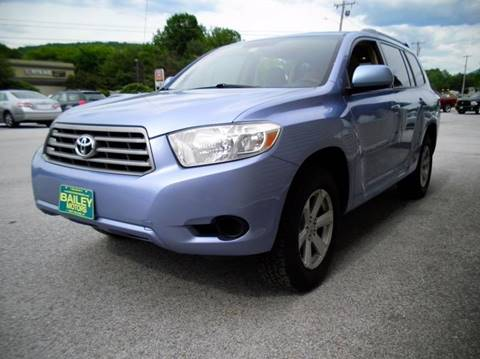 2008 Toyota Highlander for sale at BAILEY MOTORS INC in West Rutland VT