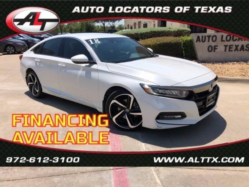 2018 Honda Accord for sale at AUTO LOCATORS OF TEXAS in Plano TX