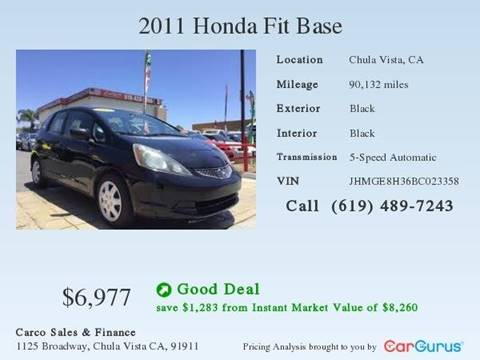2011 Honda Fit for sale at CARCO SALES & FINANCE #2 in Chula Vista CA