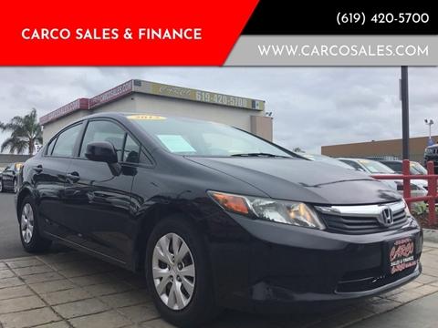 2012 Honda Civic LX for sale at CARCO SALES & FINANCE in Chula Vista CA