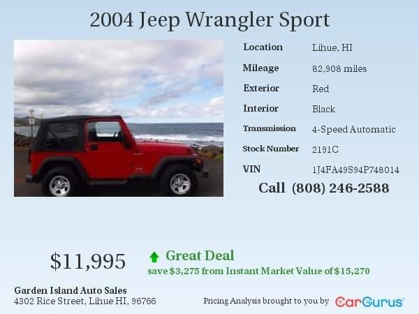 2004 Jeep Wrangler Sport 4wd 2dr Suv In Lihue Hi Garden Island