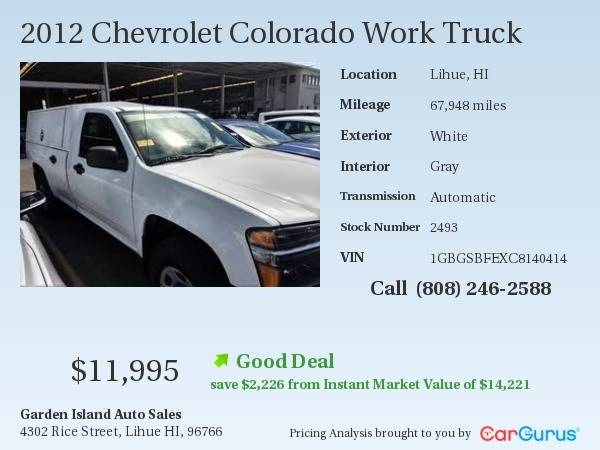 2012 Chevrolet Colorado 4x2 Work Truck 2dr Regular Cab Chassis In