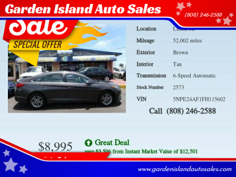 2015 Hyundai Sonata for sale at Garden Island Auto Sales in Lihue HI