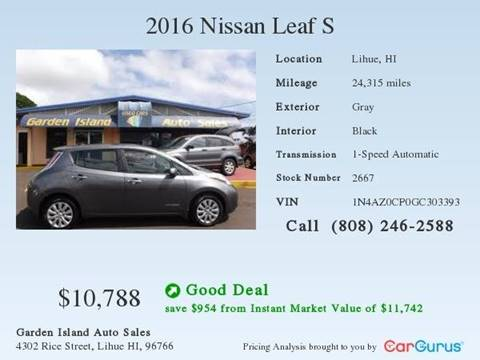 2016 Nissan LEAF for sale at Garden Island Auto Sales in Lihue HI