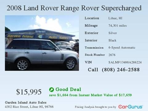 2008 Land Rover Range Rover for sale at Garden Island Auto Sales in Lihue HI