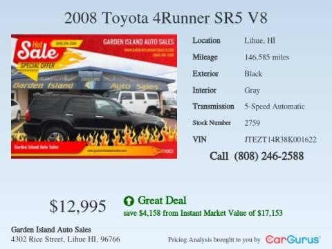2008 Toyota 4Runner for sale at Garden Island Auto Sales in Lihue HI
