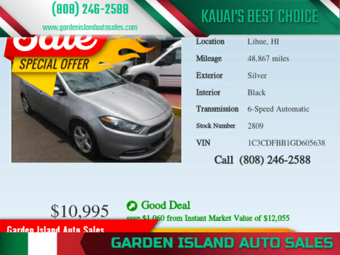 2016 Dodge Dart for sale at Garden Island Auto Sales in Lihue HI