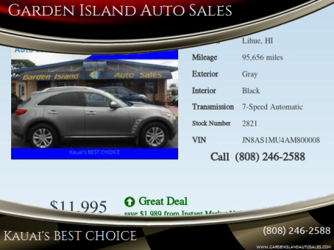 2010 Infiniti FX35 for sale at Garden Island Auto Sales in Lihue HI