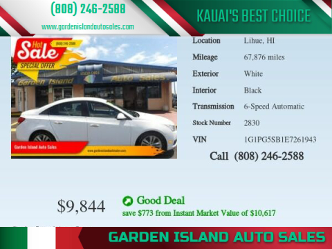 2014 Chevrolet Cruze for sale at Garden Island Auto Sales in Lihue HI
