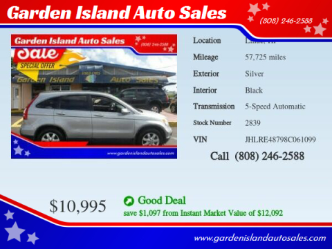 2008 Honda CR-V for sale at Garden Island Auto Sales in Lihue HI