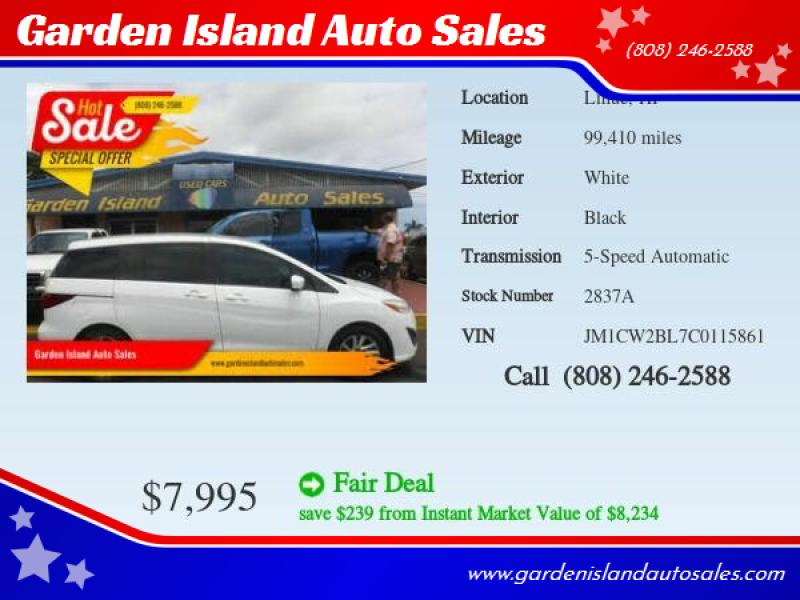 2012 Mazda MAZDA5 for sale at Garden Island Auto Sales in Lihue HI