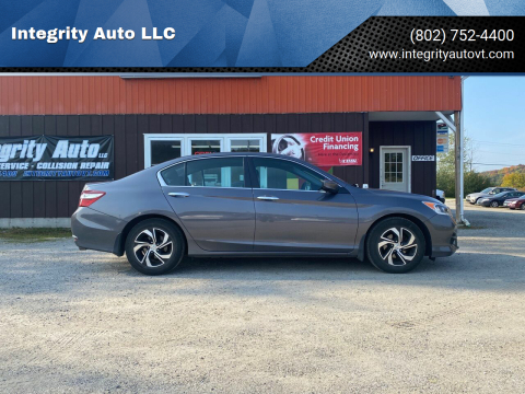2017 Honda Accord for sale at Integrity Auto LLC in Sheldon VT