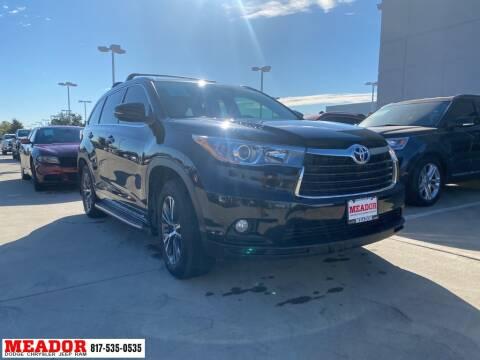 2016 Toyota Highlander for sale at Meador Dodge Chrysler Jeep RAM in Fort Worth TX