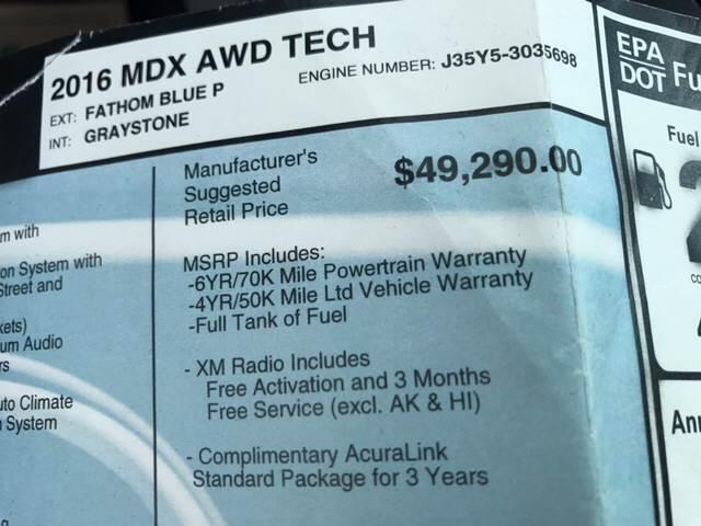 2016 Acura MDX SH-AWD 4dr SUV w/Technology Package - Philadelphia PA
