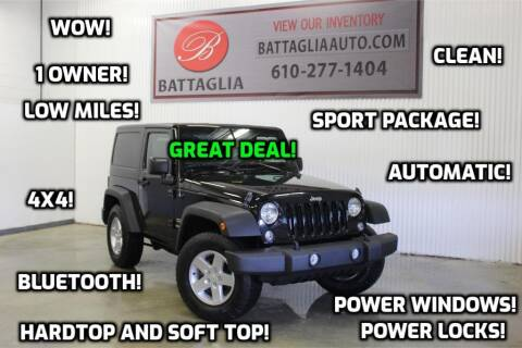 2016 Jeep Wrangler for sale at Battaglia Auto Sales in Plymouth Meeting PA