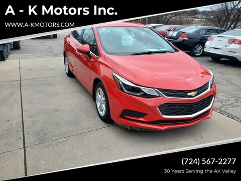 2016 Chevrolet Cruze for sale at A - K Motors Inc. in Vandergrift PA