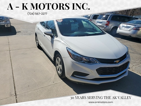 2017 Chevrolet Cruze for sale at A - K Motors Inc. in Vandergrift PA