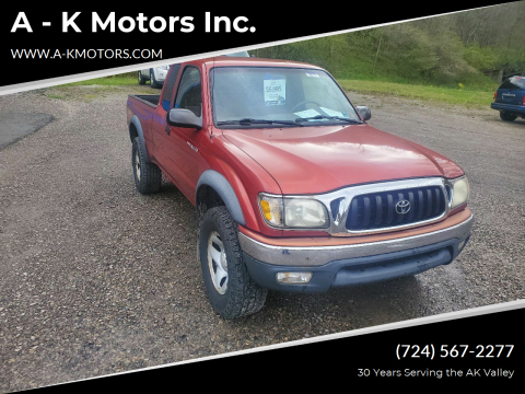 2002 Toyota Tacoma for sale at A - K Motors Inc. in Vandergrift PA