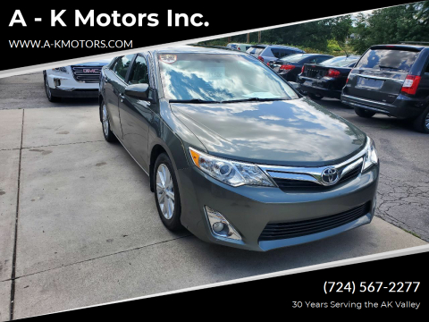 2012 Toyota Camry for sale at A - K Motors Inc. in Vandergrift PA