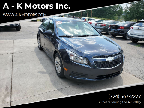 2014 Chevrolet Cruze for sale at A - K Motors Inc. in Vandergrift PA
