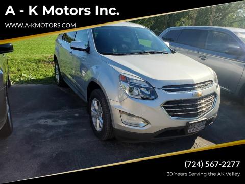 2017 Chevrolet Equinox for sale at A - K Motors Inc. in Vandergrift PA