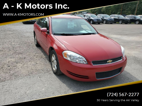 2007 Chevrolet Impala for sale at A - K Motors Inc. in Vandergrift PA