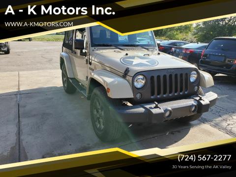 2017 Jeep Wrangler for sale at A - K Motors Inc. in Vandergrift PA