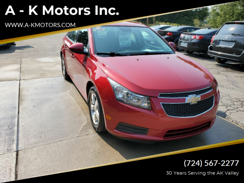 2013 Chevrolet Cruze for sale at A - K Motors Inc. in Vandergrift PA