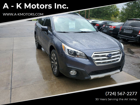 2017 Subaru Outback for sale at A - K Motors Inc. in Vandergrift PA