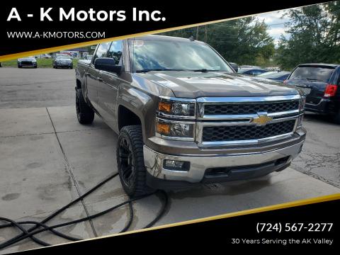 2014 Chevrolet Silverado 1500 for sale at A - K Motors Inc. in Vandergrift PA