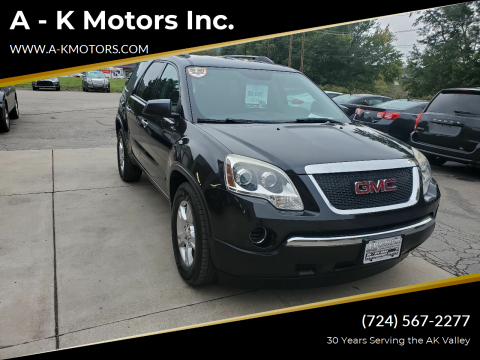 2011 GMC Acadia for sale at A - K Motors Inc. in Vandergrift PA