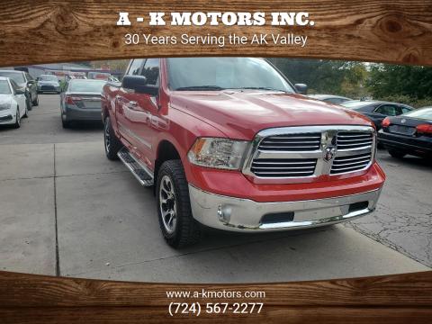 2015 RAM Ram Pickup 1500 for sale at A - K Motors Inc. in Vandergrift PA