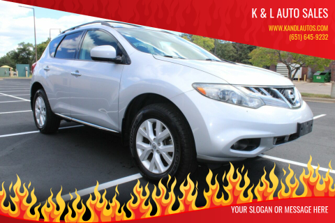 2012 Nissan Murano for sale at K & L Auto Sales in Saint Paul MN