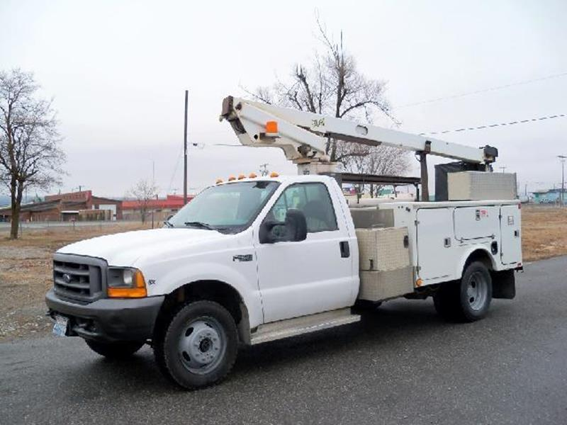 1999 FORD SD F-450  4WD BUCKET LIFT white 1999 ford f450 super duty 4x4 bucket lift truck this h