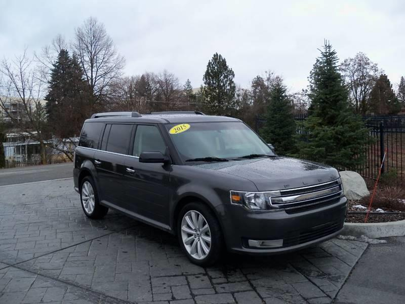 2015 FORD FLEX SEL AWD 4DR CROSSOVER gray sel awd  blind spot warningcross traffic alert adju