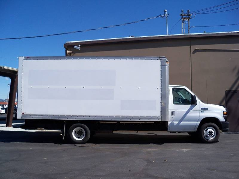 2011 FORD E-350 16 BOX VAN white 2 in stock 16 cube vans 54 l flex fuel 4 speed automatic tr