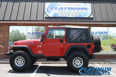 2004 Jeep Wrangler for sale at Platinum Auto World in Fredericksburg VA