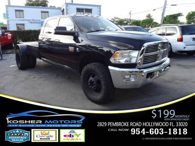 2012 RAM RAM PICKUP 3500 SLT 4X4 4DR CREW CAB 8 FT LB PI black at kosher motors buying a pre-ow