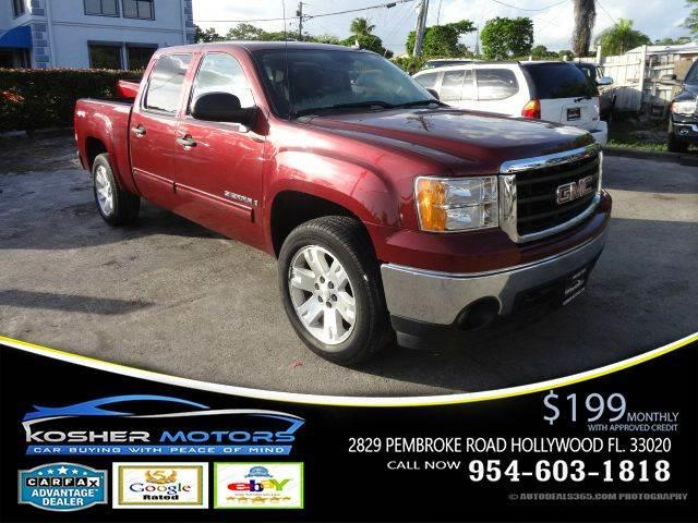 2008 GMC SIERRA 1500 SLE1 4WD 4DR CREW CAB 58 FT SB maroon at kosher motors buying a pre-owned