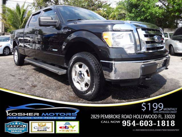 2012 FORD F-150 XLT 4X4 4DR SUPERCREW STYLESIDE black at kosher motors buying a pre-owned car or