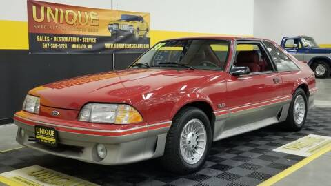 1988 Ford Mustang for sale at UNIQUE SPECIALTY & CLASSICS in Mankato MN